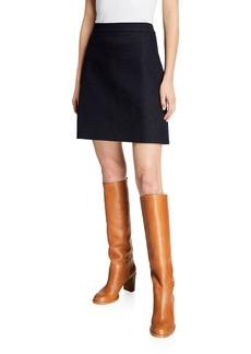 Adam Lippes Denim A-Line Zip-Back Skirt