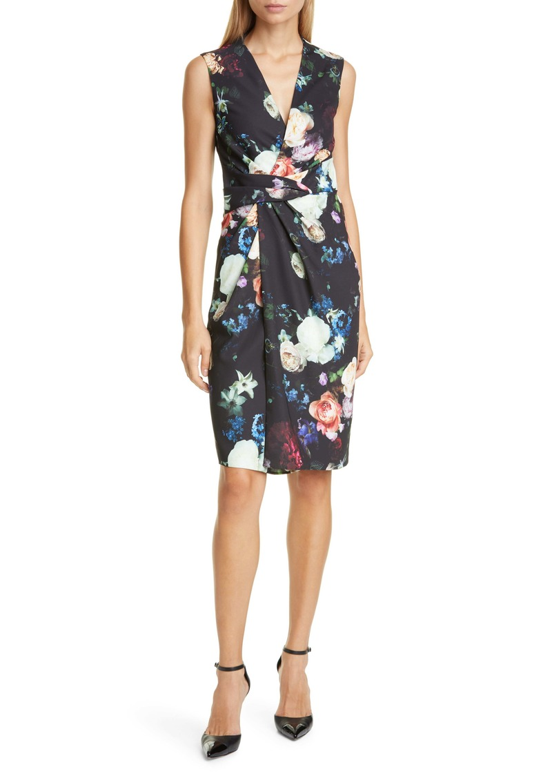 Adam Lippes Drape Waist Floral Print Faux Wrap Sheath Dress