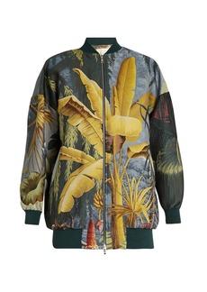 Adam Lippes Eden-print jacquard bomber jacket