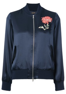 Adam Lippes embroidered flower bomber jacket - Blue