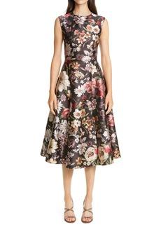 Adam Lippes Floral Jacquard Fit & Flare Midi Dress