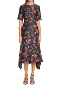 Adam Lippes Floral Jacquard High/Low Midi Dress