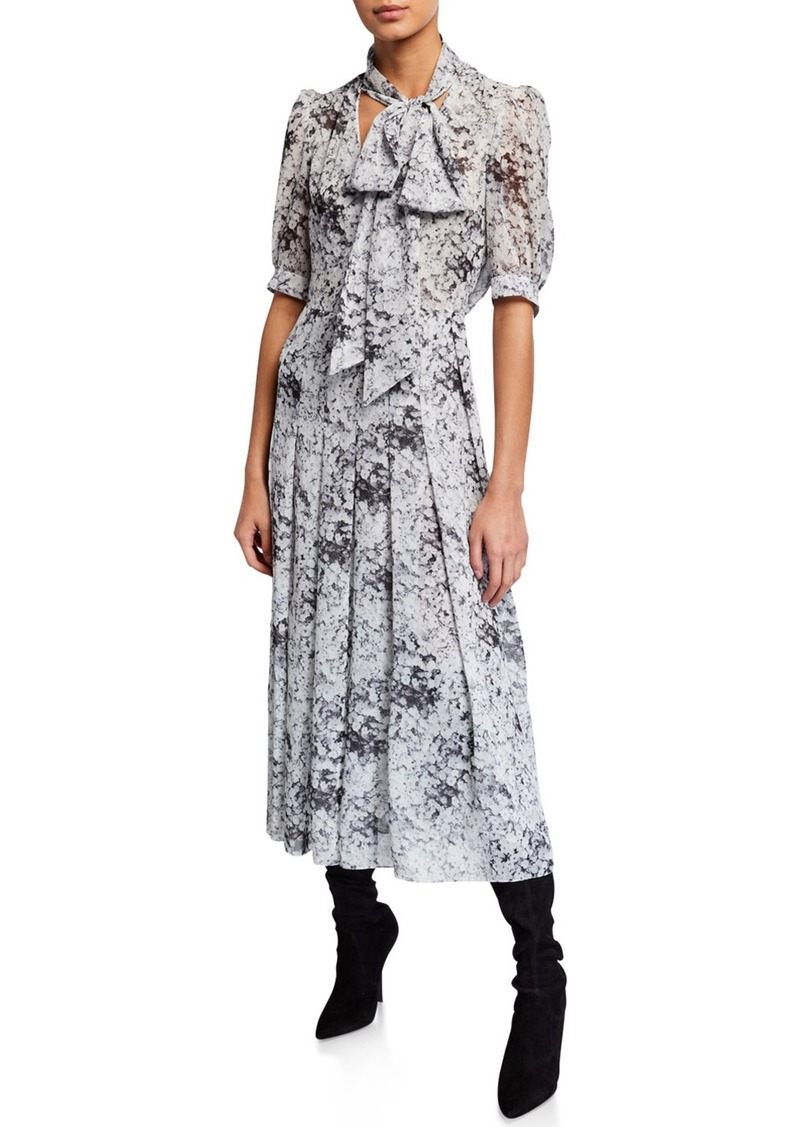 Adam Lippes Floral-Print Bow-Neck Dress