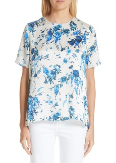 Adam Lippes Floral Print Hammered Silk Blouse