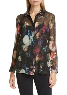 Adam Lippes Floral Print Metallic Silk Chiffon Blouse