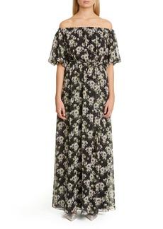 Adam Lippes Floral Print Off the Shoulder Maxi Dress