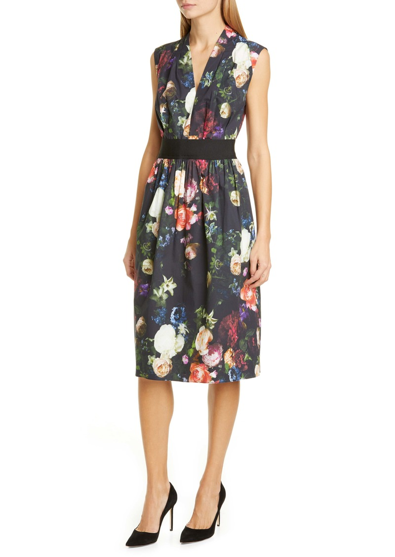 Adam Lippes Floral Print Stretch Poplin Dress