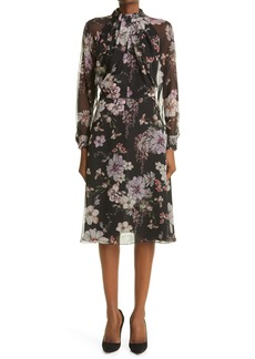 Adam Lippes Floral Print Twist Neck Long Sleeve Chiffon Dress