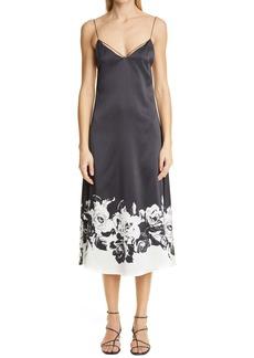 Adam Lippes Floral Silk Charmeuse Dress