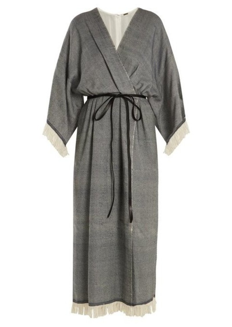 Adam Lippes Fringed wool-blend wrap dress
