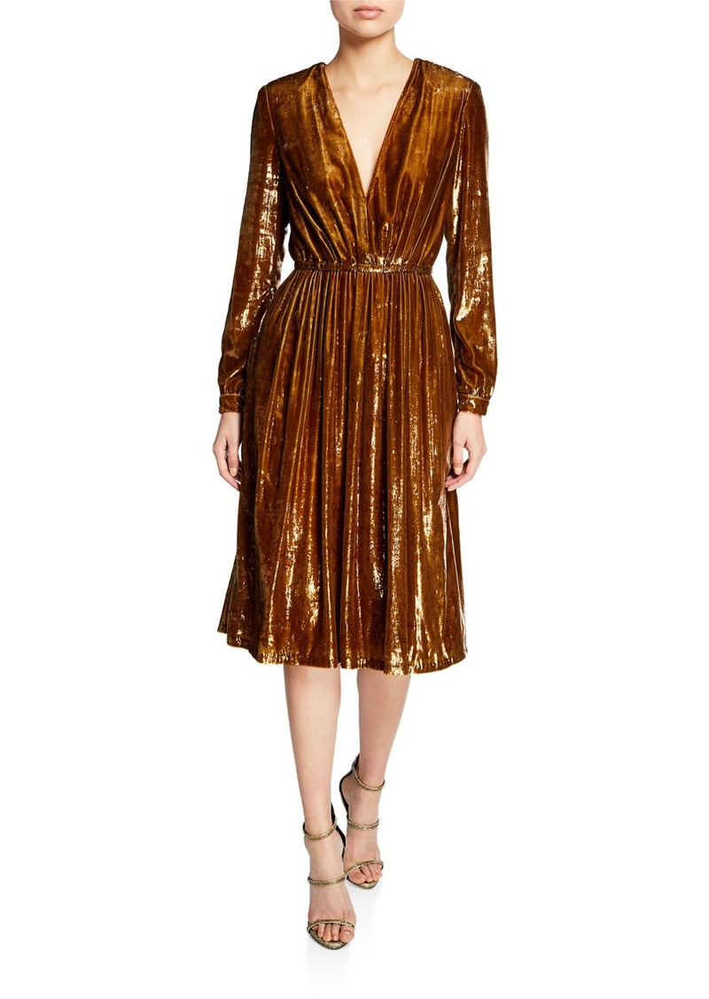 Adam Lippes Liquid Velvet Long-Sleeve V-Neck Dress