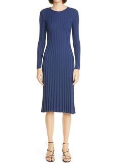Adam Lippes Long Sleeve Ribbed Silk & Cashmere Sweater Dress