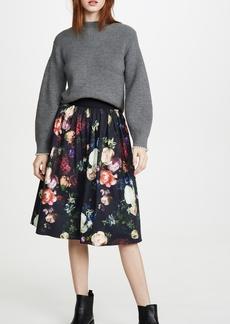 Adam Lippes Midi Skirt with Sunburst Pleats