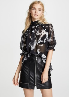 Adam Lippes Mock Neck Blouse with Smocked Sleeves