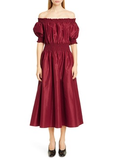 Adam Lippes Off the Shoulder Silk Taffeta Midi Dress