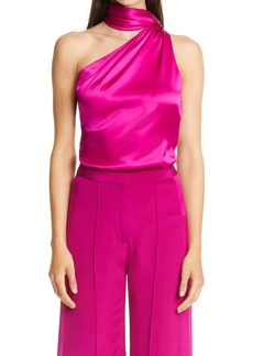 Adam Lippes One Shoulder Scarf Neck Silk Charmeuse Top