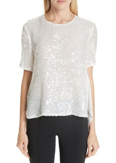 Adam Lippes Open Back Sequin Embroidered Blouse