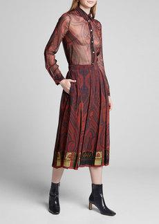 Adam Lippes Paisley-Print Chiffon Midi Skirt