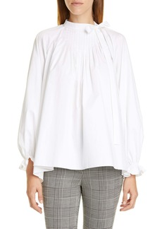 Adam Lippes Pintuck Cotton Poplin Blouse