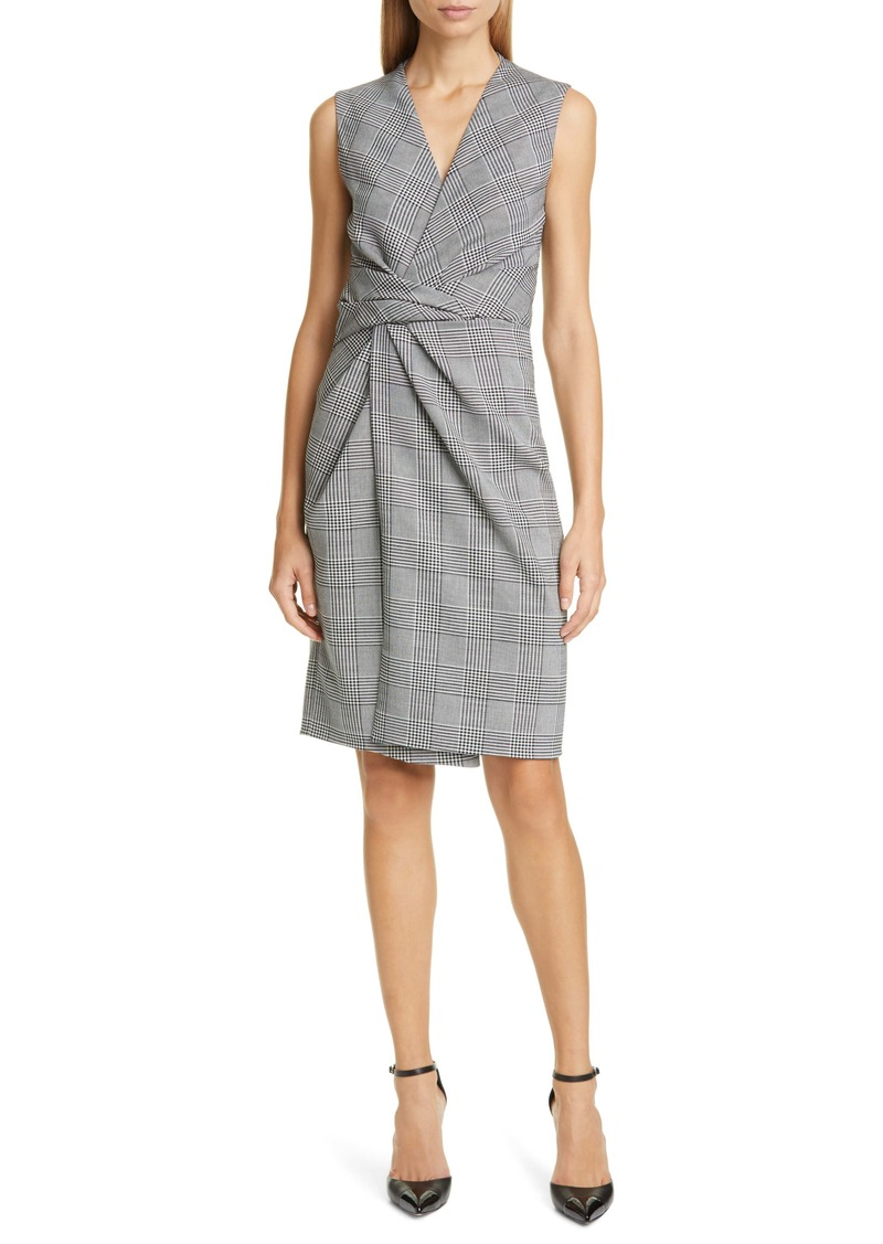 Adam Lippes Plaid Drape Waist Sheath Dress