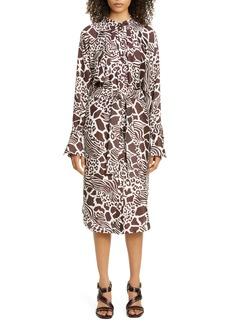 Adam Lippes Print Long Sleeve Silk Shirtdress