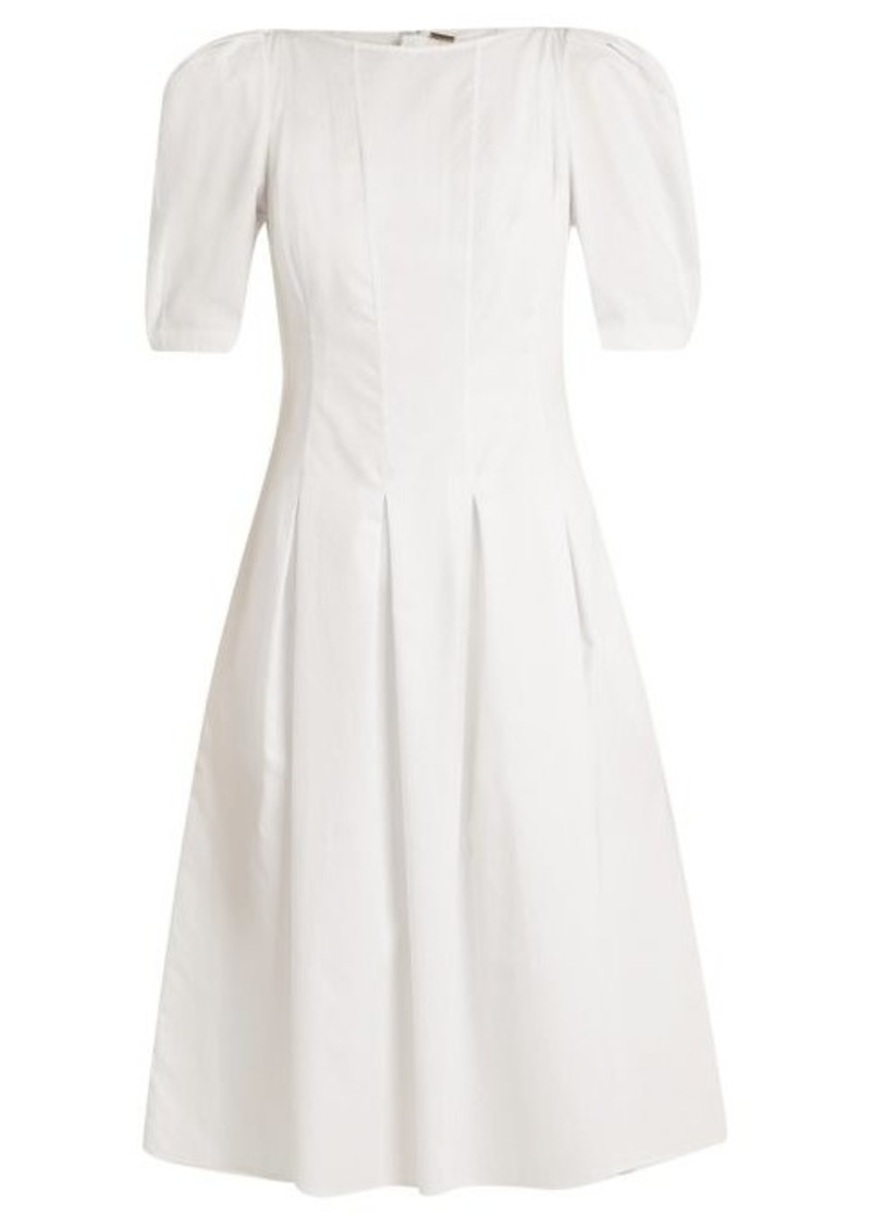 Adam Lippes Puff-sleeved cotton midi dress