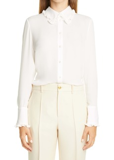 Adam Lippes Ruffle Trim Silk Long Sleeve Shirt