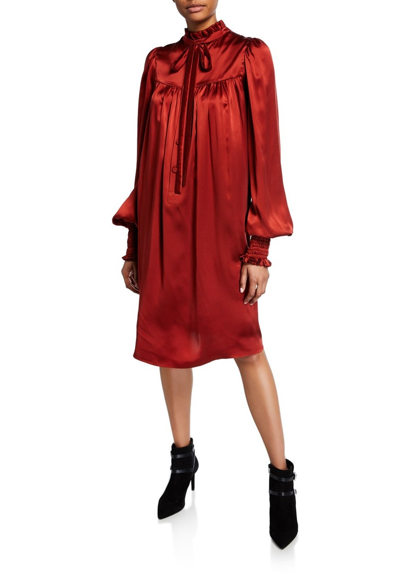 Adam Lippes Ruffled Charmeuse Blouson-Sleeve Dress