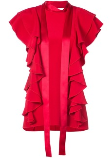 Adam Lippes ruffled tie-neck blouse - Red