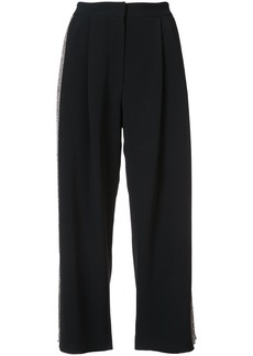 Adam Lippes Stretch cady pleat front culottes with embellished sides -