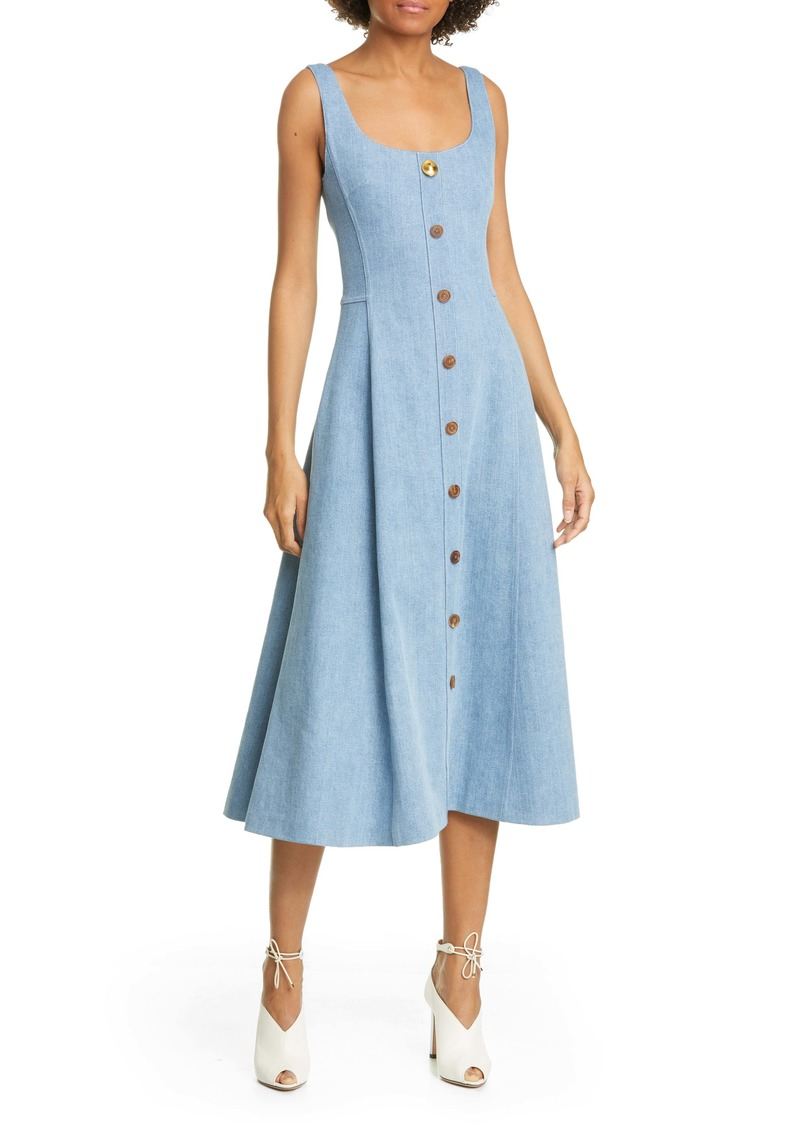 Adam Lippes Stretch Denim Fit & Flare Midi Dress