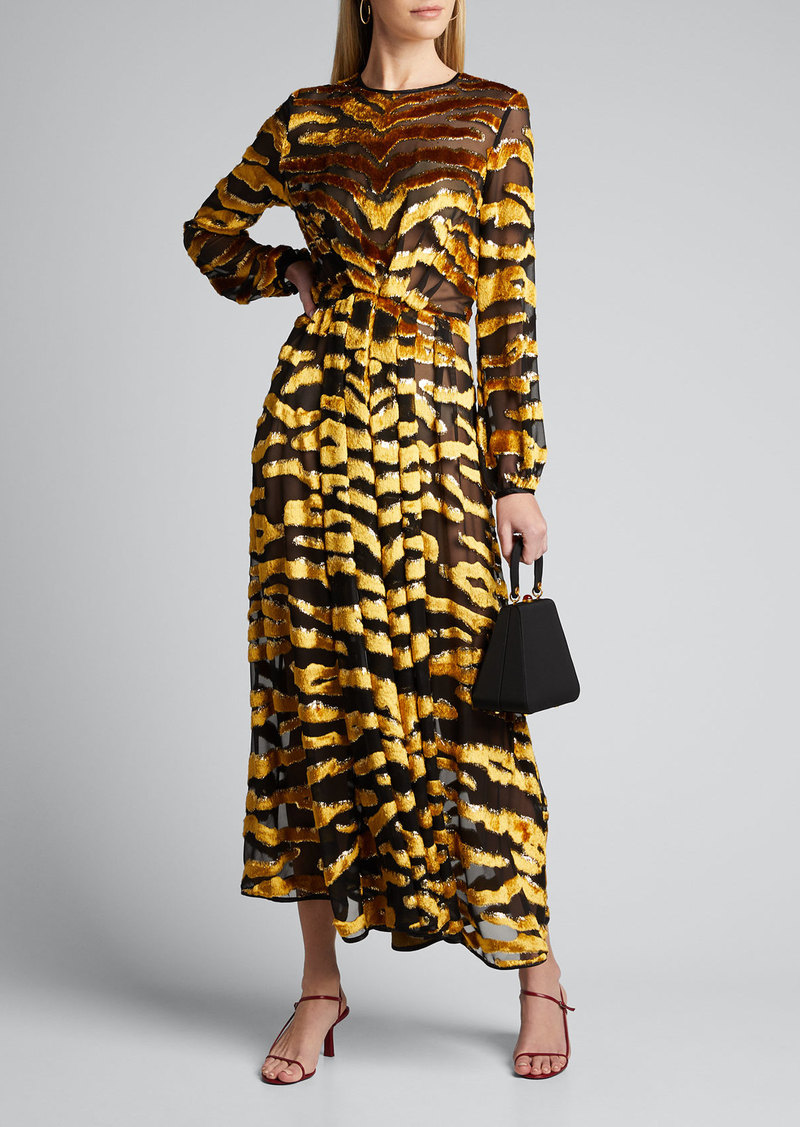 Adam Lippes Tiger-Striped Velvet Burnout Dress