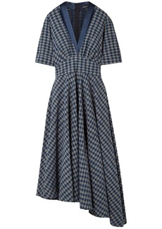 Adam Lippes Woman Asymmetric Gathered Checked Cotton-poplin Midi Dress Indigo