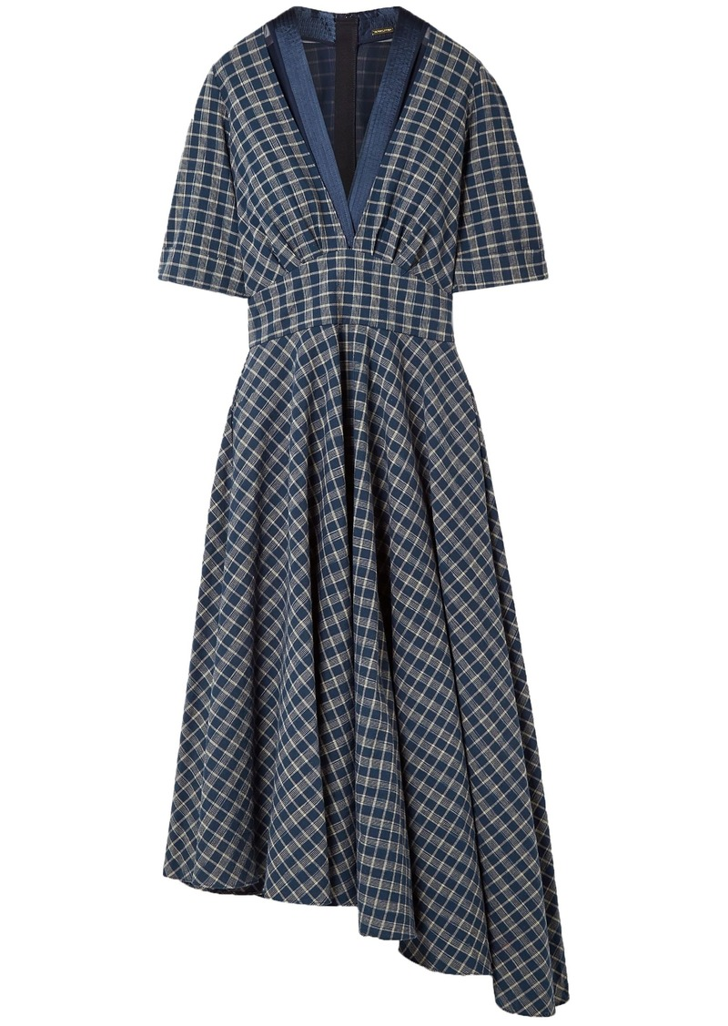 Adam Lippes Woman Asymmetric Gathered Checked Cotton-poplin Midi Dress Indigo