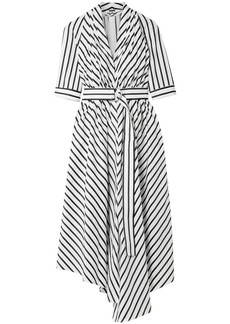 Adam Lippes Woman Asymmetric Pleated Striped Cotton-poplin Midi Dress White
