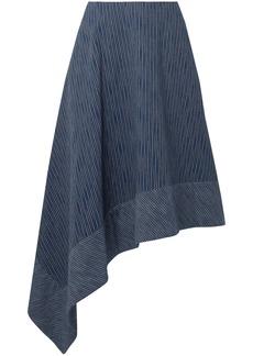 Adam Lippes Woman Asymmetric Striped Cotton Midi Skirt Navy