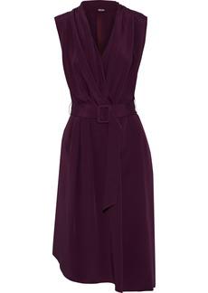 Adam Lippes Woman Belted Draped Silk-crepe Dress Grape