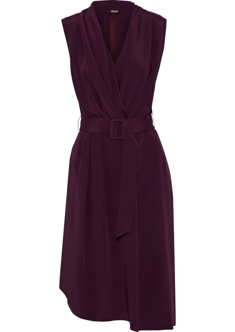 Adam Lippes Woman Belted Draped Silk-crepe Dress Grape