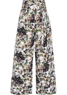 Adam Lippes Woman Belted Floral-print Cotton-poplin Wide-leg Pants Black