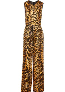 Adam Lippes Woman Belted Leopard-print Duchesse-satin Jumpsuit Animal Print