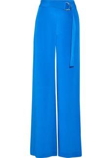 Adam Lippes Woman Belted Silk Crepe De Chine Wide-leg Pants Bright Blue
