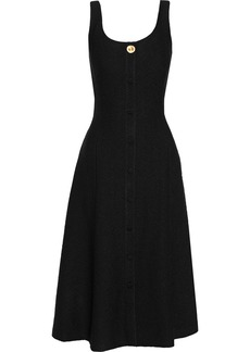 Adam Lippes Woman Button-embellished Bouclé Midi Dress Black