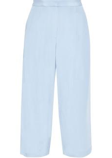 Adam Lippes Woman Cropped Silk-crepe Straight-leg Pants Light Blue