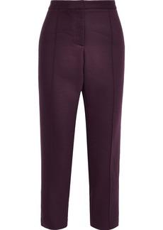 Adam Lippes Woman Cropped Twill Slim-leg Pants Burgundy