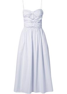 Adam Lippes Woman Cutout Pinstriped Cotton-poplin Midi Dress White