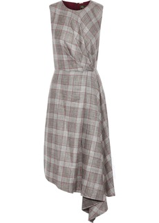 Adam Lippes Woman Draped Checked Wool Silk And Linen-blend Dress Taupe