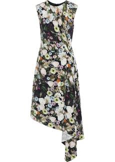 Adam Lippes Woman Draped Pleated Floral-print Silk-crepe Dress Multicolor