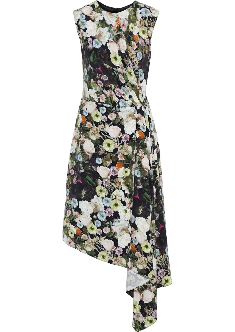 Adam Lippes Woman Draped Pleated Floral-print Silk-crepe Dress Multicolor