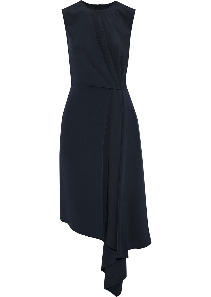Adam Lippes Woman Draped Pleated Silk-crepe Dress Navy