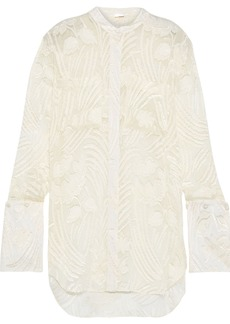 Adam Lippes Woman Fil Coupé Chiffon Shirt Ivory